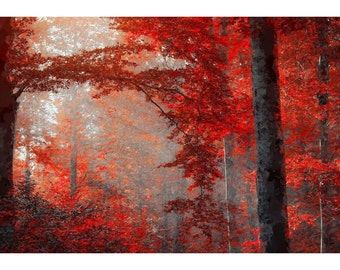 Red Forest Painting Print - Free Shipping