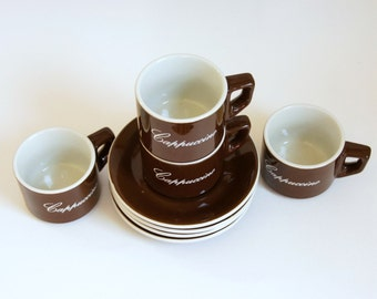 Cappuccino Cups Saucers, AFC Italy Cappuccino Set, Vintage Cafe Decor