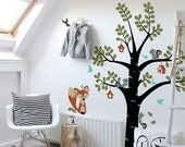 Childrens Wall Decals, Cute Fox's Friends and The Tree - Kids Vinyl Wall Sticker Decal Set