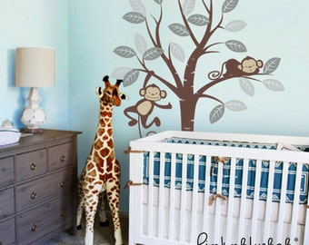 Childrens Wall Decals, Monkeys and Tree - Nursery Kids Removable Wall Vinyl Decal