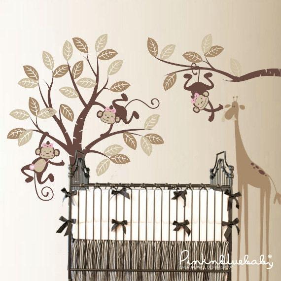 Wall Decals,  3 Girl Monkeys and giraffe - Nursery Kids Removable Wall Decal