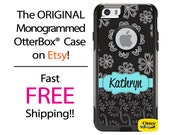 iPhone OtterBox Commuter Case for iPhone 7, 7 Plus, 6/6s, 6 Plus/6s Plus, 5/5s/SE, 5c Galaxy S7 S6 S5 Note 5 Monogrammed Floral Swirl Case