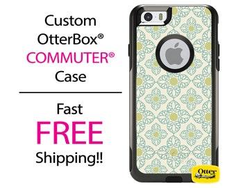 iPhone OtterBox Commuter Case for iPhone 7, 7 Plus, 6/6s, 6 Plus/6s Plus, 5/5s/SE, 5c Galaxy S7 S6 S5 Note 5 Custom Floral Beige Flower Case
