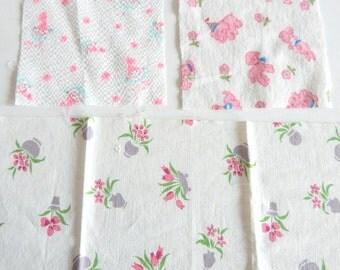 3 Pcs Vintage Novelty Print Fabric: Elephants, Lambs, Cowns, Flower Pots