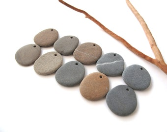 Flat Beach Stones Rock Beads Drilled Mediterranean Jewelry Findings Natural Stone Beads River Stone Diy Jewelry EARTHY MISTY LOT 28-30 mm