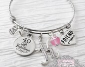 40th Birthday Gifts for Women, Birthday Jewelry, 40 and Fabulous, Friendship Bracelet, Friend, Personalized Bangle- Best Friend Jewelry