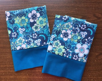 Pillow Case set in Beautiful Floral pattern 100% cotton standard or queen available
