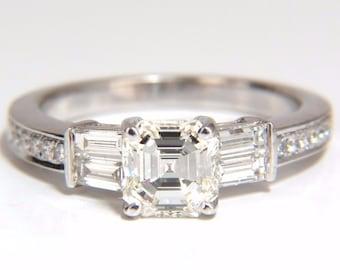 GIA Certified 1.62ct natural asscher diamond ring engagement classic 18kt