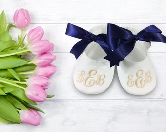 Soft Ballet Shoes- Monogrammed Slippers- Pretty Ballerina Shoes- Birthday Shoes- Christmas Gift- Newborn Baby Gift- Keepsake Gift- Baptism