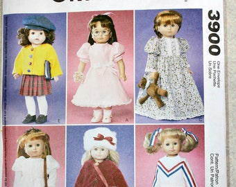 "Doll Clothes Pattern - UNCUT McCall's Crafts - 18"" Tall Doll - Wardrobe - Dress, Coat, Nigghtgown, Cardigan, Skirts, Bag, Hat...estate sale"