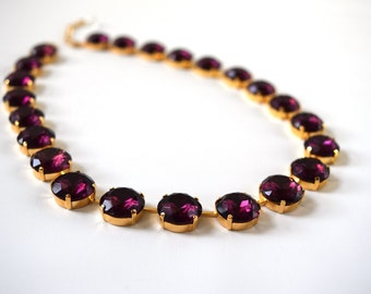 Purple Statement Necklace, Anna Wintour Necklace, Georgian Collet, Amethyst Purple, Riviere Necklace Regency 18th Century, Victorian jewelry