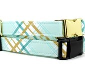 Boy Dog Collar | Mint and Gold Plaid Dog Collar | Your choice of metal buckle or plastic buckle | Plaid Dog Collar