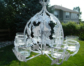 Chandelier Votive Candle Holder Style - White Shabby and Rustic - Patio garden art - Wedding Reception Decoration