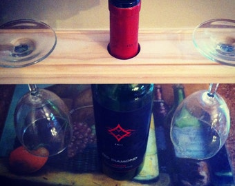 Unfinished wine bottle and glasses holder