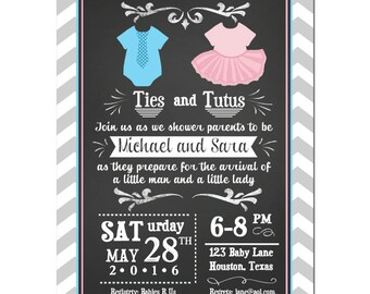 Ties or Tutus Twin Baby Shower Invitation Printable or Printed With FREE SHIPPING - Gender Reveal - Ties or Tutus Collection