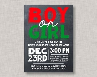Christmas Gender Reveal Invitation, Christmas Gender Reveal, Gender Reveal Party, Gender Reveal Invites, Chalkboard