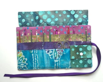 Crochet Needle Case with Pocket/Roll/Organizer in 100% Batik Cotton