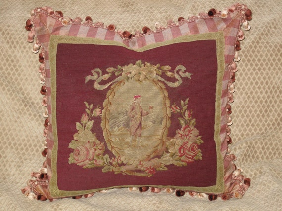Victorian Tapestry Pillows : Romantic Antique 19th century Victorian Needlepoint Tapestry