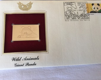 Wild Animals Giant Panda Gold Plated First Day of Issue Stamp Oct. 1, 1992