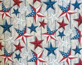 Susan Winget Fabric, Star Fabric, By The Yard, Stars On Wood Collection, Patriotic Americana Fabric, Fourth of July, Quilting Sewing Fabric