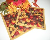Quilted Pot Holders, Autumn Fall Leaves, Fall Decor, Hot Pads, Gold Orange Red Autumn, Kitchen Decor, Autumn Decor, Set of 2