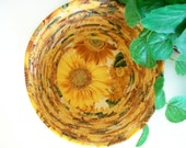 Large Coiled Fabric Basket Bowl Sunflowers Country Summer Kitchen Decor