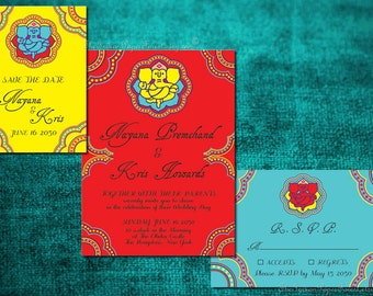 Indian Wedding Invitation Set GANESHA Suite Hindu Marathi Gujarati Punjabi Jain Bihari Bengali Asian Nepali Srilankan Tamil Kannada Andhra