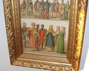 Antique Fashion Lithograph Slovic costume in glass and wood frame