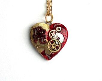 """Steampunk Heart Necklace Locket """"Steampunk Valentine"""""""