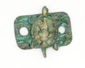 Bronze Turtle Bracelet Link or Earring Component with Verde Patina