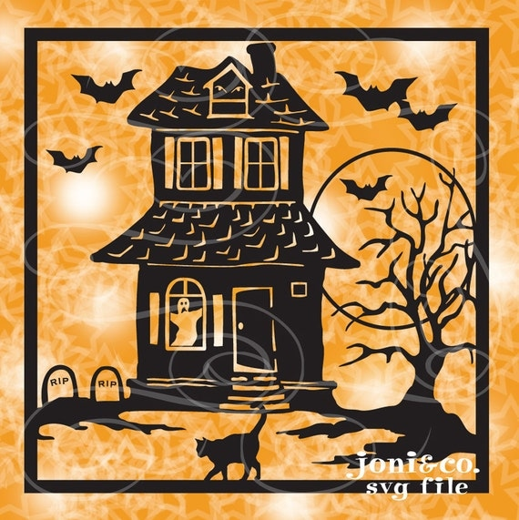 Halloween Glass Block Svg File Haunted House Svg By Joniandco