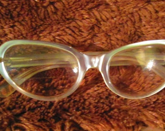 50s Cateye Gray Eyeglasses / Small Cateye Glasses Pearl Gray Made In France
