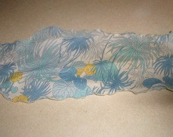 vintage ladies head neck scarf oblong blue yellow flower