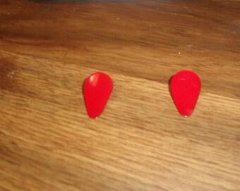vintage clip on earrings red enamel metal teadrop