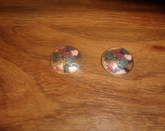 vitnage clip on earrings colorful enamel goldtone