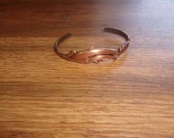 vintage bracelet solid copper dolphins