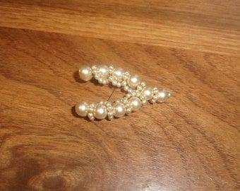 vintage pin brooch  faux pearls wishbone