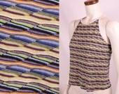 Vintage 90s - Multi Knit Racer Back Spaghetti Strap Cotton Tank Top - Raver Grunge Club Kid