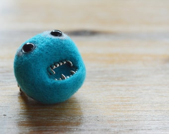 Blue Felt Pheeple Brooch Monster with Metal Teeth - Made To Order Needle Felted Character Jewellery Pin in Bright Blue