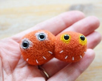 Best Friend Monster Brooch - Needle Felted Orange Couple Character Badge