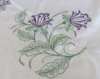 Tablecloth White Homespun Cotton Hand Embroidered Purple Floral Sprays 797+