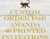 Reserved listing for Amanda for 40 Printed Vintage Circus Birthday invitations with White Envelopes
