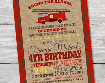 Firetruck Birthday Invitation, PRINTABLE Firetruck Invitation, Firetruck Birthday, Fireman Invitation, Firetruck Invite, ID: BD125910