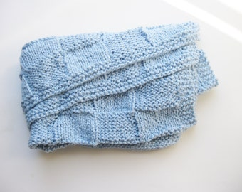 Organic cotton blanket blue basketweave hand knitted
