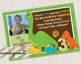 Dinosaur Boy Birthday Party Invitation
