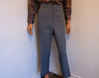 """70s 34"""" x 29"""" Plaid Polyester Blend Mens Flares PANTS Sears Roebuck Blue Gray"""