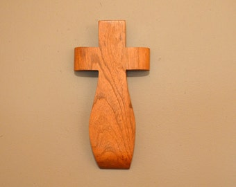 "Wood Wall Cross. An Original Crooked Cross; TX Mesquite 5""x10""x1"";Free Shipping USA;  cc25-172814"