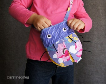 Bug Purse by MinneBites / Handmade Small Purple Purse - Cute Cross Body Purse - Girls First Birthday - Garden Floral Bag - Ready to Ship