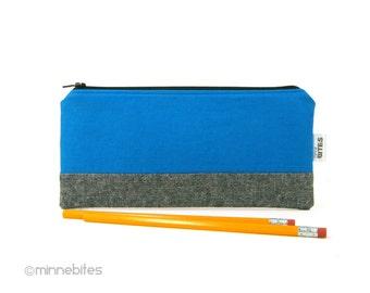 Men's Blue Pencil Case - Zipper Pouch for Guys - Office Organizer - Receipt Holder - Coupon Case - Mens Pencil Bag - Ready to Ship