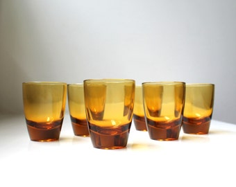 Mid Century Amber Shot Glasses Set of 6 Cordial Glasses Barware Danish Modern